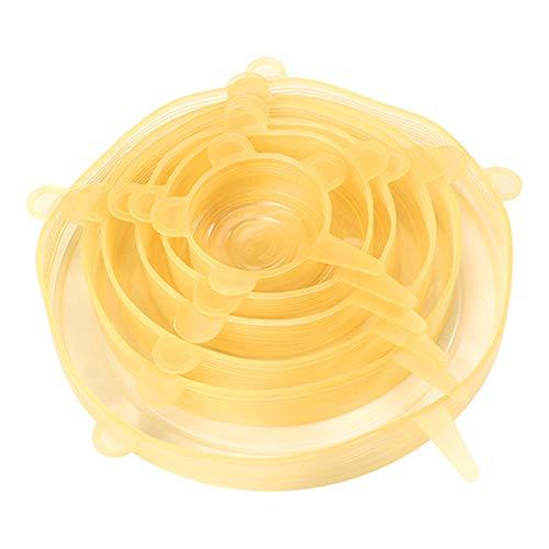 Couvercles extensibles en silicone, paquet de 6 couvercles pour aliments, différentes tailles de couvercles de stockage des aliments réutilisables, couvercle extensible sans BPA et extensible