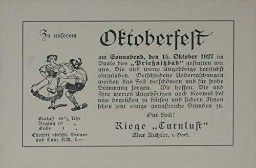 Einladungskarte Oktoberfest TVNA 15. Oktober 1927