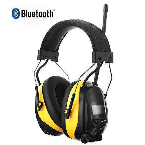 Rechargeable Bluetooth Radio Hearing Protector, Electronic AM/FM Radio Headphones Noise Reduction Wireless Ear Protection Safety Ear Muffs for Mowing, Snow Plowing, Construction, Workshops - NRR 25dB