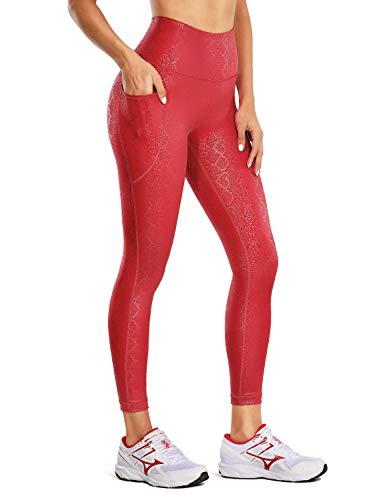 CRZ YOGA Mujer Cuero Sintética Leggings Deportivos Pantalón Elásticos Cintura Alta con Bolsillos-58cm Serpiente carmesí 42