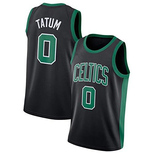RRGV Tatum Celtics 0# Basketball Jersey, 2021 Adult Men's Sleeveless Top, Mesh Breathable Quick-Drying Sweatshirt (S-XXL) Black-M