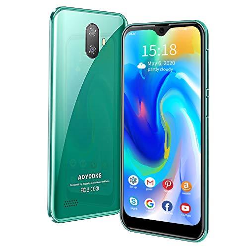 AOYODKG A20 Teléfono Móvil Quad-Core 32GB,Android 9.0 Teléfono Libre Dual SIM,8 MP + 5 MP,Smartphones Baratos de 5.5 Pulgadas,Reconocimiento Facial,3400mAh Batería,GPS/WiFi, Verde