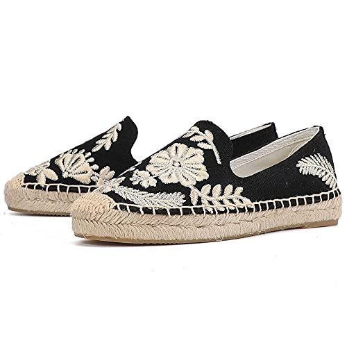 LYNLYN Gestickte Schuhe für Frauen Womens Casual Espadrilles Slip auf atmungsaktiven Flachs Hanf Leinwand für Mädchen Schuhe Mode Stickerei Komfortable Damen Mädchen Gestickte Fersen - 3