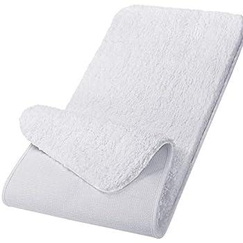 Lifewit Bathroom Runner Rug Bath Mat 59 x20  Non-Slip Soft Long Shower Rug Plush Microfiber Water Absorbent Carpet Thick Shaggy Luxury Floor Mats Machine Washable White
