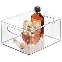 transparente organizador de cocina peque/ño de pl/ástico organizador de nevera con asas y sin tapa iDesign Caja transparente para el frigor/ífico