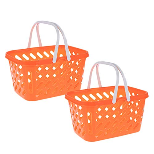 NUOBESTY 2pcs Mini Toy Shopping Basket Kids Grocery Basket with Handles for Toddlers Party Favors Kitchen Pretend Play Storage Basket Toy