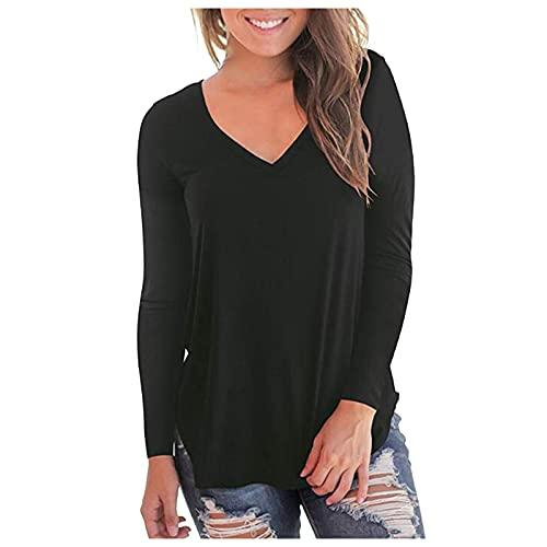 Oberteile Damen Elegant Shirt Damen Sexy Damenmode Lässig Rundhals Landschaft Blusehemd Unifarben Baumwolle Damen Basic T-Shirts Tshirt Mit...