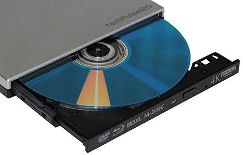techPulse120 portables USB 3.0 4K UHD 3D M-Disc BDXL HDR10 Laufwerk Blu-ray Brenner Burner Superdrive Ultra-Slim BD DVD CD für Netbook Notebook Ultrabook Windows Mac OS Apple iMAC MacBook Silber
