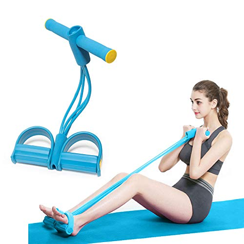 Fascia di resistenza a pedale, corda elastica da tirare con pedale, attrezzatura per esercizi fitness a 4 tubi, per addominali, vita, bracci, yoga, stretching, dimagranti