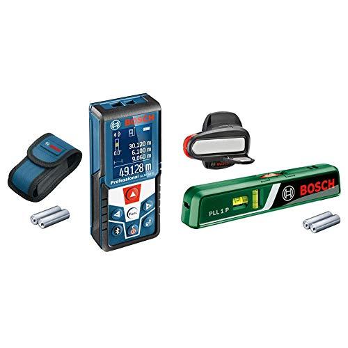 Bosch Professional GLM 50 C Distanziometro Laser, Campo di Misura 0.05-50 m Interfaccia Bluetooth pe + Bosch 0603663300 PLL 1 P Livella Laser, Nero/Verde/Rosso
