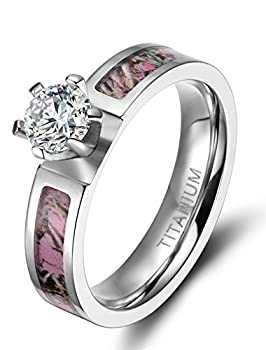 5mm Women s Rose Camo Titanium Rings with Cubic Zirconia Polished Finish Comfort Fit  8