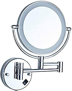 Daily Necessities LED Makeup Mirror Double-Sided Wall Mounted Bathroom Mirror Vanity Makeup and Shaving Mirror   8 inch 3X Magnification   360° Rotating Adjustable Extendable (Silver)