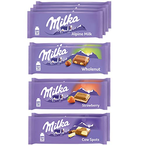 Milka European Chocolate Bars Variety Pack, Alpine Milk Chocolate, Cow...