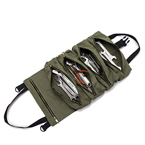 Super Roll Tool RollMultiPurpose Tool Roll Up Bag Wrench Roll PouchCanvas Tool Organizer BucketCar First Aid Kit Wrap Roll Storage CaseHanging Tool Zipper Carrier ToteCar Camping Gear