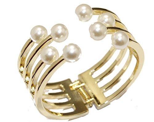 Diamantados of Florida Brazalete de Perlas de 17,78 cm, Chapado en Oro de 18 Quilates, Pulsera de Perlas
