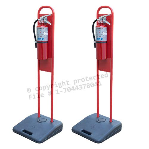 (Lot of 2) Portable Fire Extinguisher Stands with NO EXTINGUISHERS