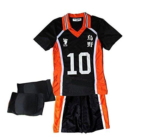 TOKYO-T Haikyuu Costume Uniform Hinata Cosplay with Knee Supporter (10 L,tag XL)