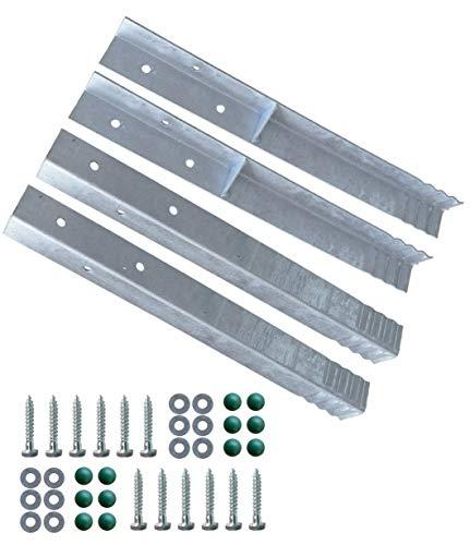 Gartenwelt Riegelsberger Winkelanker für Spielturm und Schaukel feuerverzinkt 500x45x45mm Erdanker Grundanker zum Einbetonieren 4 Stück (Set)