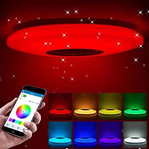 ShangSky - Lámpara de techo led regulable, altavoz RGB con Bluetooth, música para dormitorio, con aplicación a distancia, para habitación de los niños, regalo, Blanco, 185-265v 36cm 36w,Typ 2