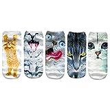 FriendGG Chaussettes Femme Mignonnes Chat Imprimé Chaussette 3D Imprimé Animal...