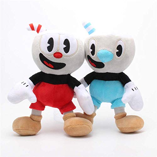LevinArt 2pcs 25cm Cuphead Mugman Plush Toy Mecup and Brocup Soft Stuffed Doll Kids