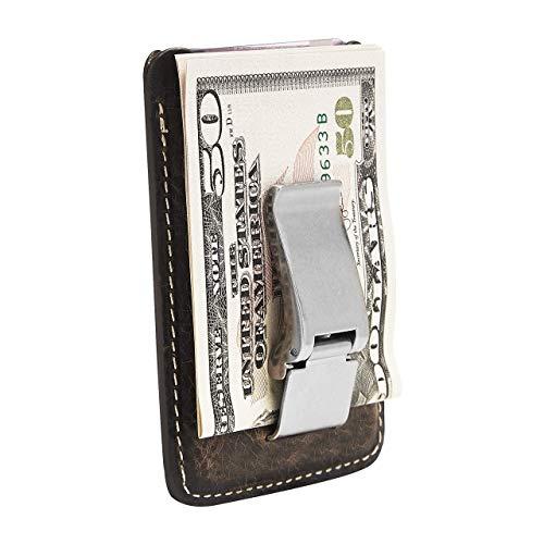 HOJ Co. WYATT Money Clip Wallet   Front Pocket Wallet   Full Grain Leather   Metal Money Clip Wallet   Slim Wallet   Card Case