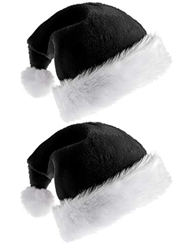 Elcoho 2 Pack Santa Hat for Adults Christmas Hat Traditional Black and White Plush Christmas Santa Hat for Christmas Party