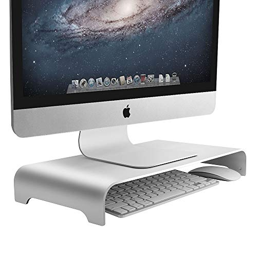 VAYDEER Monitor Stand Computer Riser Metal Desktop Monitor Stand up to 27 Inch Screens for PC, Mac, MacBook, Laptop with Storage Space Organizer for Keyboard & Mouse(Aluminum,42 * 22 * 6cm)
