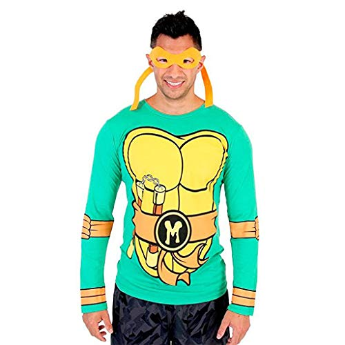 Teenage Mutant Ninja Turtles Long Sleeve Michelangelo Costume Adult Green T-Shirt & Eye Mask (Adult Medium)