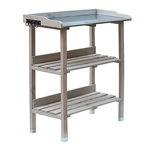 RM Design Pflanztisch Holz Zinkplatte Gartentisch Pflanzregal wetterfest für Außenbereiche lasiert (Grau) 76x38x91 cm