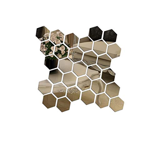 Prabahdak 12 PCS Mirror Wall Sticker DIY Acrylic Wall Stickers Hexagon Stickers Self Adhesive Sticker Wall Sticker Decals for Home Living Room BedroomS 3.93x 3.34 x 1.96 inches