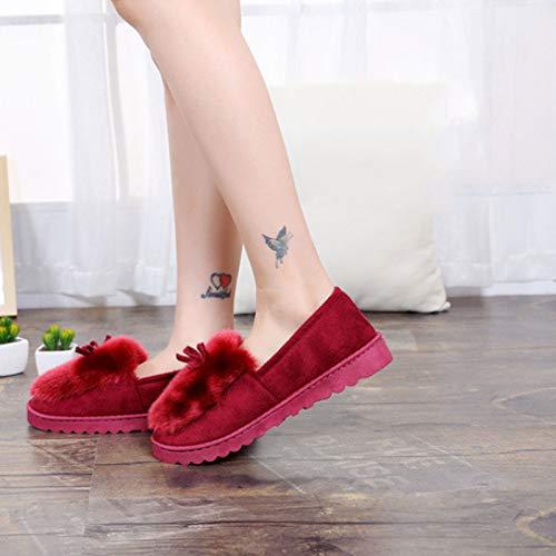 HaoLin Mocasines Cálidos Y Esponjosos para Mujer Zapatillas De Ballet Hermoso Lazo Piel Cálida Cómodos Zapatos De Algodón Zapatillas para Mujer,Red-38