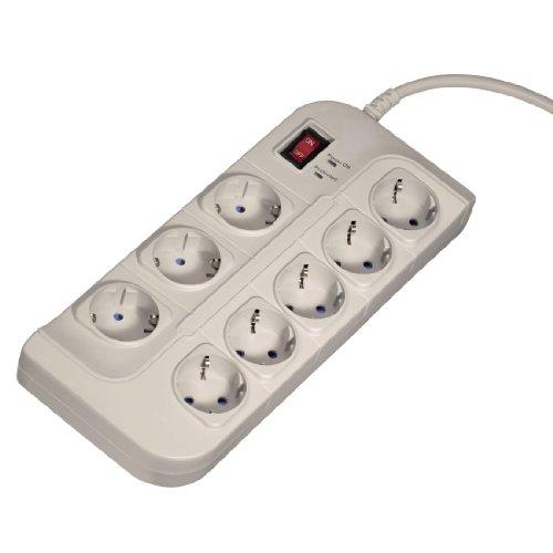 Hama Steckdosenleiste 8-fach mit Überspannungsschutz (Hochwertige Mehrfachsteckdose 1,5m, inkl. Ein- und Aus Kipp-Schalter, Steckplätze 45 Grad gedreht, EMI/RFI Rausch-Filter) weiß