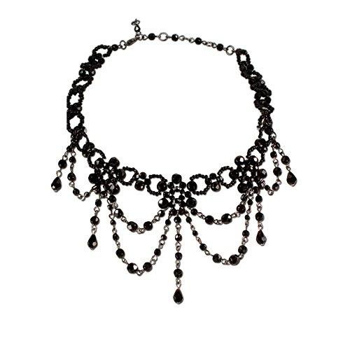 Alpenflüstern Trachten-Perlen-Kropfkette Elise - Trachtenkette Damen-Trachtenschmuck Dirndlkette schwarz DHK089