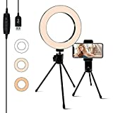 Selfie Ring Light 6.3-inch with Stand & Phone Holder, 3 Light Settings Dimmable Desktop LED Camera Lights for Recording Video Conferencing, Makeup, YouTube, Live Streaming
