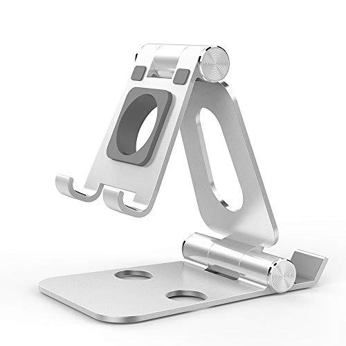 Simpeak Soporte Móvil, Soporte Tablet y Reloj Inteligente, Multi-Angulo Soporte de Aluminio Compatible con iPad,Compatible con iPhone, Compatible con iwatch, 4-12.9inch, Plata
