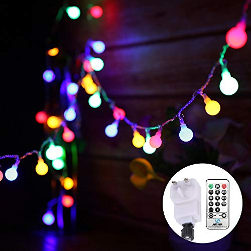 Globe String Lights Mains Powered 13M/43ft 100 LED Outdoor Fairy Lights Multi-Color 8 Modes Waterproof with Remote Control for Party Living Room Bedroom Patio Garden (13m 100led Multi-colored Plug in)