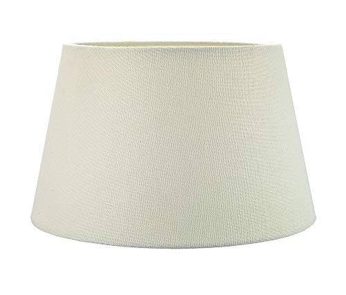 Traditional 12 Inch Cream Linen Fabric Drum Table/Pendant Lampshade 60w Maximum by Happy Homewares