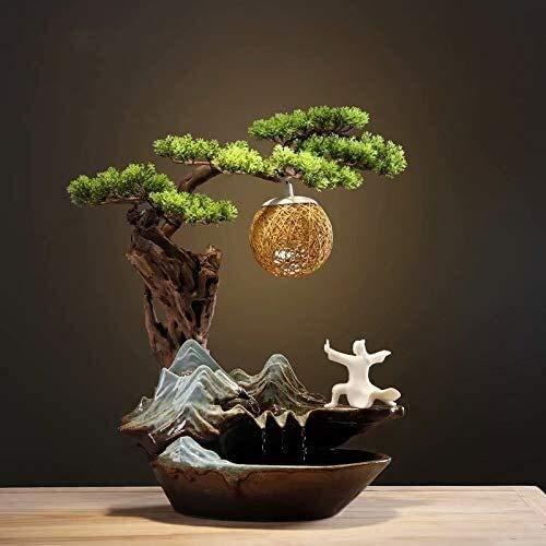 KEKEYANG Fuente de cerámica Adornos Feng Shui Suerte salón Decoraciones for el hogar de Escritorio gabinete del Vino, Color: G Fuente Interior (Color : D)