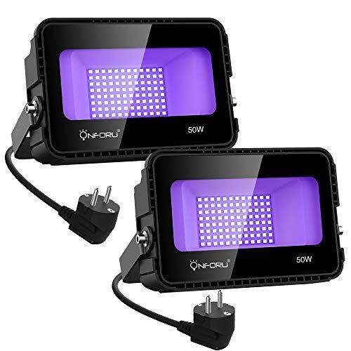 Onforu 2er 50W LED Schwarzlicht Lampe, UV Strahler mit Stecker, Fluoreszenz Schwarzlichtlampe, Blacklight Partylicht für Neonfarben, UV...
