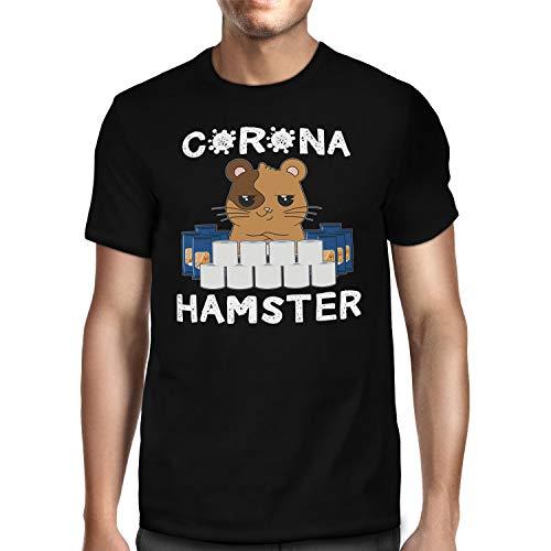 Fashionalarm Herren T-Shirt - Corona Hamster | Fun Shirt mit Spruch als Geschenk-Idee Hamsterkäufe COVID-19 Corona-Satire Virus 2020 Klopapier, Schwarz L