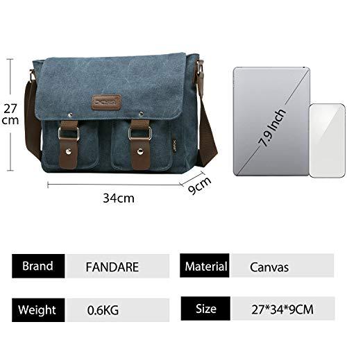 FANDARE Messenger Bag Men Business Travel Camping Shoulder Crossbody Bag Canvas