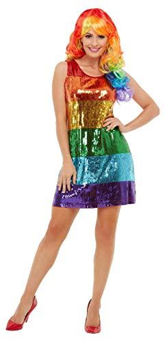 Fancy Me Damen Pailletten Regenbogen-Kleid Pride LGBT Karneval Festival Junggesellinnenabschied Kostüm Outfit UK 8-18