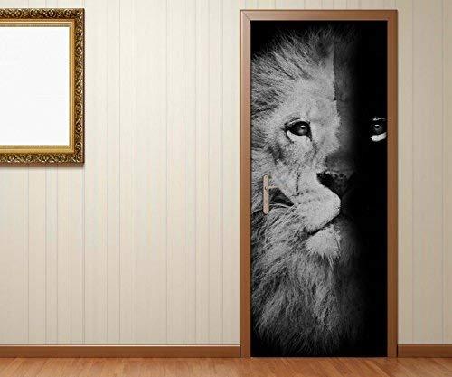 Türaufkleber schwarz weiss Löwe Gesicht Hälfte Mähne Afrika abstrakte Kunst Vintage Tür Bild Türposter Türfolie Druck Aufkleber sticker 15A3307, Türgrösse:67cmx200cm