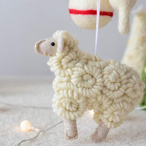 Christmas Tree Ornament Hanging Felt Sheep Christmas Tree Decoration Wooly Sheep Christmas Ornaments - Decorative Figurines - Handmade Felted Toy Wool Ornament