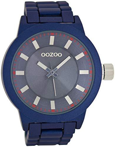 Oozoo Herrenuhr mit Glieder Metallband und Faltschließe 47 MM Dunkelblau C6087