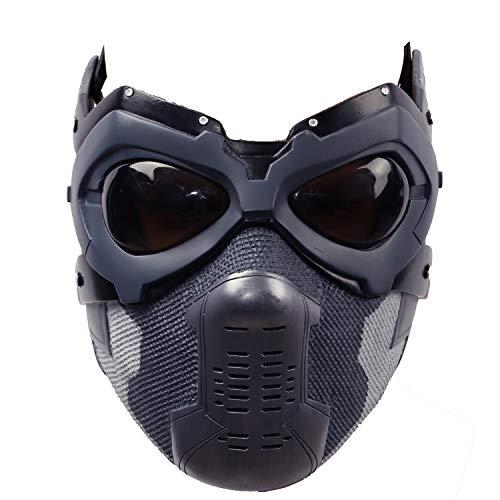Bucky Maske Cosplay Kostüm Winter Soldat Harz Masken Hälfte Gesicht Helm Erwachsene Herren Halloween Fancy Dress Merchandise Prop für Verkleiden Karneval
