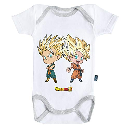 Baby Geek Goten y Trunks Super Saiyan Dragon Ball Super TM - Body para bebé de Manga Corta Blanco 6 Mes