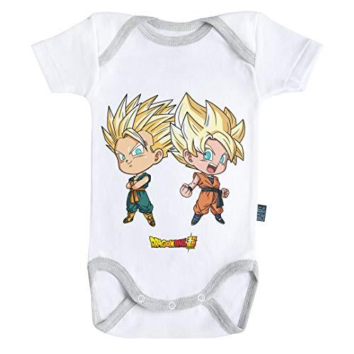 Baby Geek Goten et Trunks - Super Saiyan - Dragon Ball Super - Body Bébé Manches Courtes (3-6 Mois)