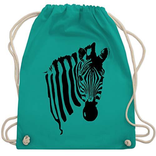 Shirtracer Wildnis - Zebra - Unisize - Türkis - Verkleidung Kostüm - WM110 - Turnbeutel und Stoffbeutel aus Baumwolle